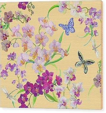 Tossed Orchids Wood Print by Kimberly McSparran