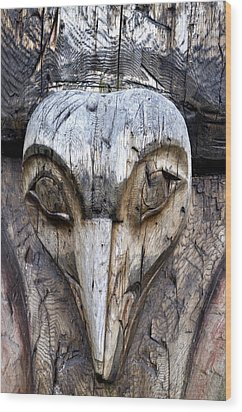 Totem Face Wood Print by Cathy Mahnke