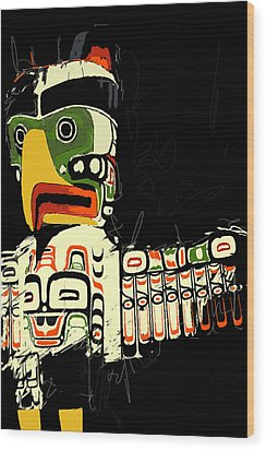 Totem Pole 01 Wood Print by Catf