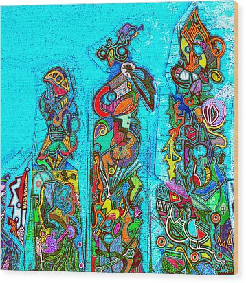 Wood Print featuring the mixed media Totemism by Doug Petersen