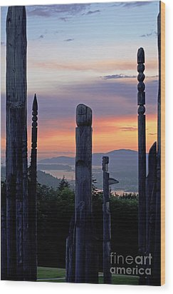 Wood Print featuring the photograph Totems Aglow by Maria Janicki