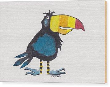 Toucan Cutie Wood Print by Julie Maas