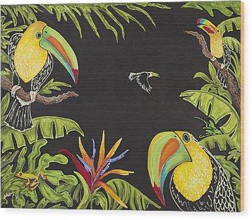 Toucan Fun Wood Print by Nickie Bradley