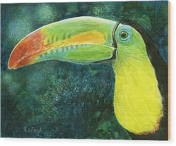 Wood Print featuring the drawing Toucan by Sandra LaFaut