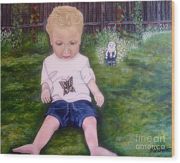 Wood Print featuring the painting Touched By A Butterfly Kiss by Kimberlee Baxter