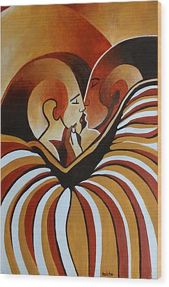 Wood Print featuring the painting Touched By Africa I by Tracey Harrington-Simpson