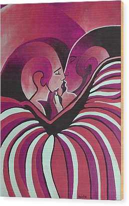 Wood Print featuring the painting Touched By Africa In  Red Hues by Tracey Harrington-Simpson
