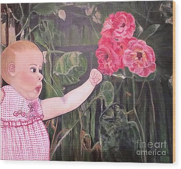 Wood Print featuring the painting Touched By The Roses Painting by Kimberlee Baxter