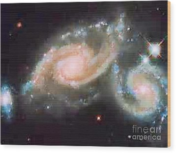 Touching Galaxies Wood Print