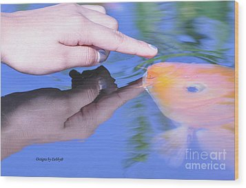 Wood Print featuring the photograph Touching The Koi by Debby Pueschel