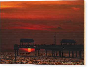 Wood Print featuring the photograph Touching The Sunset by Richard Zentner