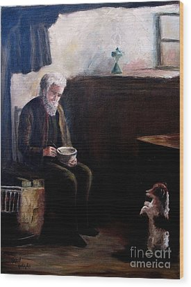 Wood Print featuring the painting Tough Times by Hazel Holland