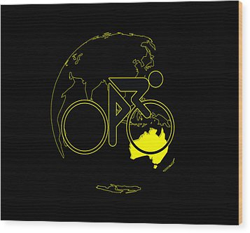 Wood Print featuring the digital art Tour De France 2011 Tribute by Brian Carson