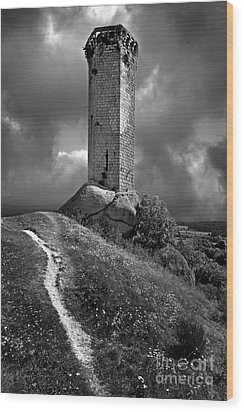Tour De La Clauze Tower. Saugues. Haute-loire Department. Auvergne. France Wood Print by Bernard Jaubert