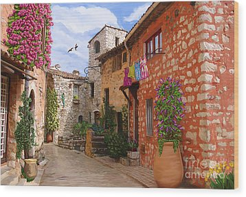 Wood Print featuring the painting Tourettes Sur Loup France by Tim Gilliland