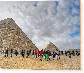 Tourism Fogh At Giza Pyramids  Wood Print by Karam Halim