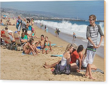 Tourist At Beach Wood Print