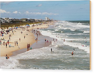 Tourist At Kure Beach Wood Print