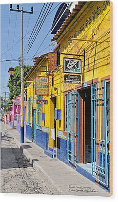 Wood Print featuring the photograph Tourist Shops - Mexico by David Perry Lawrence