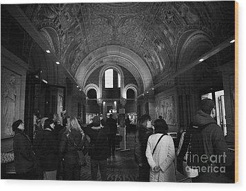 tourists inside the Gedenkhalle memorial hall of Kaiser Wilhelm Gednachtniskirche Wood Print by Joe Fox