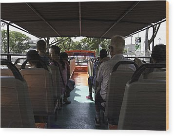 Tourists On The Sight-seeing Bus Run By The Hippo Company In Singapore Wood Print by Ashish Agarwal