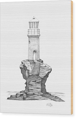 Tourlitis Lighthouse-greece Wood Print