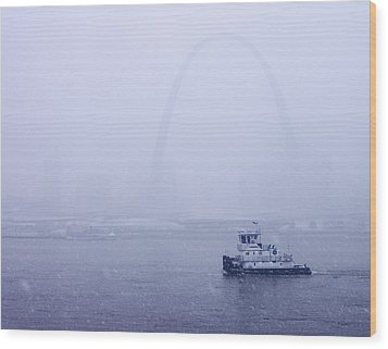 Towboat Working In The Snow St Louis Wood Print