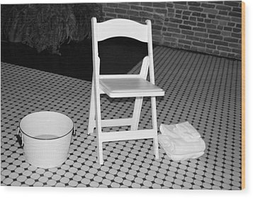 Towel And Basin Wood Print by Bob Sample