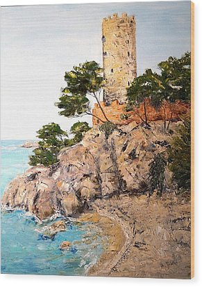 Tower At Playa De Aro Wood Print by Marilyn Zalatan