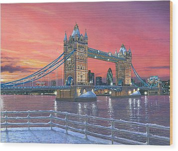 Tower Bridge After The Snow Wood Print by Richard Harpum