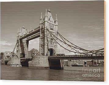 Tower Bridge - Sepia Wood Print by Heidi Hermes