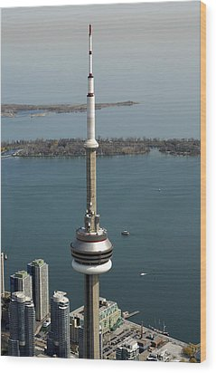 Tower Close Up With Lake Ontario In Wood Print by Bernard Dupuis