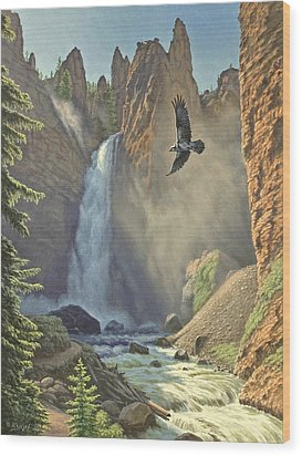 Tower Falls  Wood Print