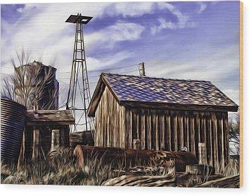Wood Print featuring the painting Tower by Muhie Kanawati
