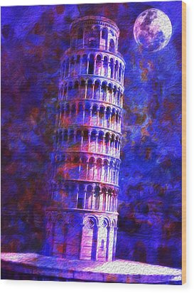 Tower Of Pisa By Moonlight Wood Print by Jack Zulli