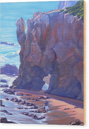 Towering El Matador Plein Air Painting Wood Print by Elena Roche
