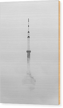 Towering Through The Fog Wood Print by Ross G Strachan