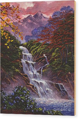 Towers Of Mist Wood Print by David Lloyd Glover