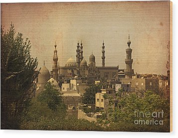 Wood Print featuring the photograph Towers Of Muslims Mosque In Cairo by Mohamed Elkhamisy