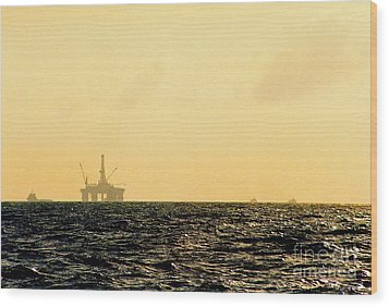 Towing A Platform In The Gulf Of Mexico Off The Coast Of Louisiana Wood Print by Michael Hoard