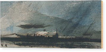 Town At Dusk Wood Print by Victor Hugo