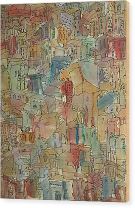 Town I Wood Print by Oscar Penalber
