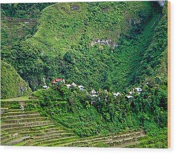 Town In Banaue Rice Terraces Wood Print