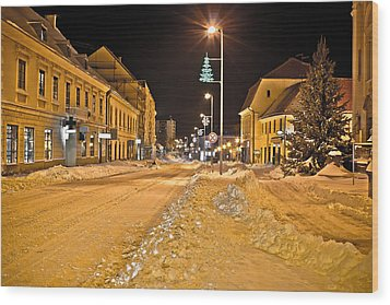 Town In Deep Snow On Christmas  Wood Print by Brch Photography