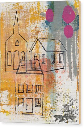 Town Square Wood Print by Linda Woods