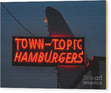 Town Topic  Neon Wood Print