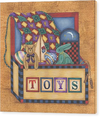 Toy Box Wood Print by Tracy Campbell