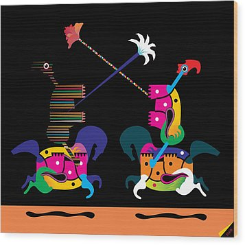 Toy Fight Wood Print by House Brasil