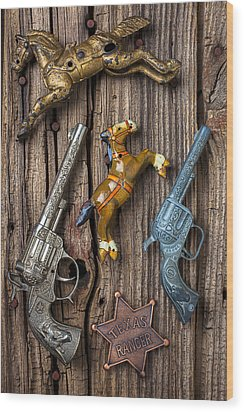 Toy Guns And Horses Wood Print by Garry Gay