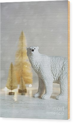 Wood Print featuring the photograph Toy Polar Bear With Little Gold Trees And Lights by Sandra Cunningham